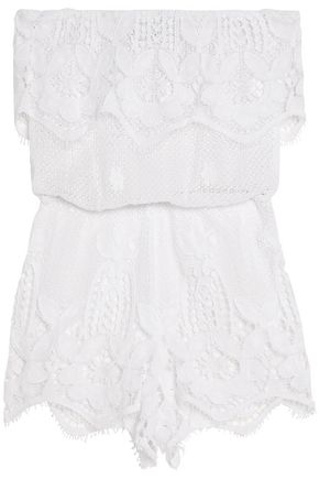 MIGUELINA Off-the-shoulder cotton guipure lace coverup