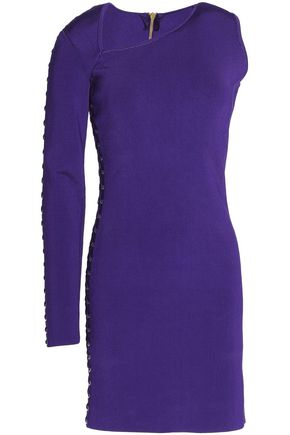 BALMAIN Asymmetric lace-up stretch-knit mini dress