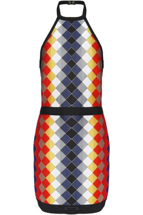 BALMAIN Intarsia-knit halterneck mini dress