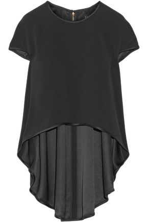 HANEY Ellie satin-trimmed crepe top