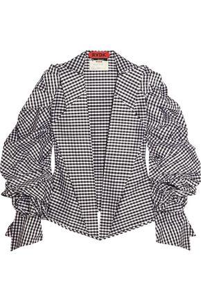 RONALD VAN DER KEMP Gingham silk-taffeta jacket