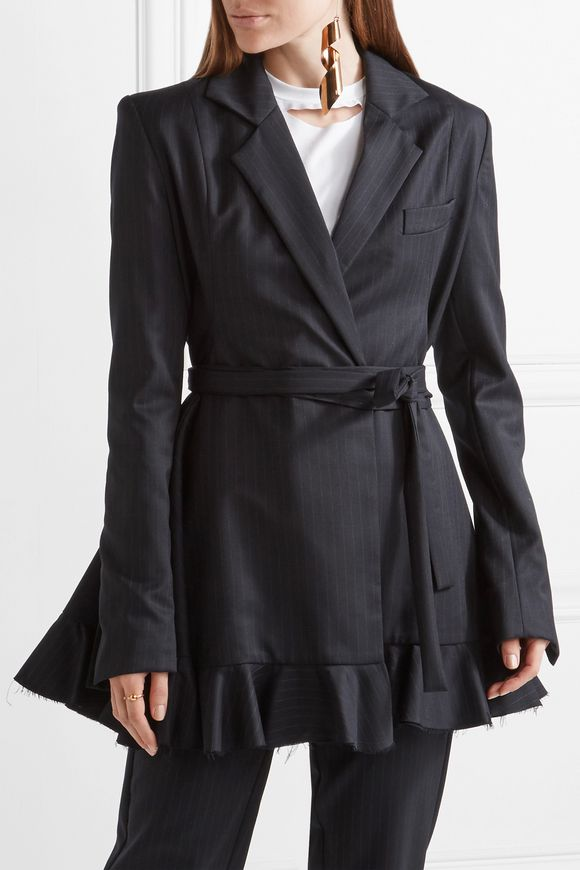 Give Me Strength ruffle-trimmed pinstriped wool blazer | MAGGIE MARILYN | Sale  up to 70% off | THE OUTNET