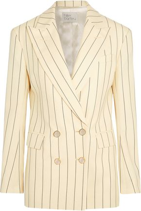 HILLIER BARTLEY Double-breasted pinstriped wool-twill blazer