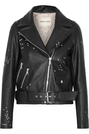 SANDY LIANG Astro Delancey embroidered textured-leather biker jacket