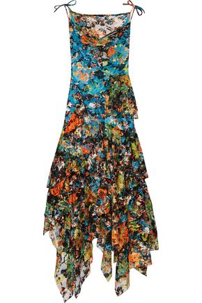 MARQUES ' ALMEIDA Ruffled floral-print lace midi dress