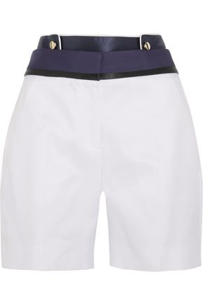 VICTORIA, VICTORIA BECKHAM Satin-paneled cotton and silk-blend shorts