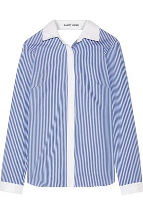 WOMAN ENZO OPEN-BACK WRAP-EFFECT RUFFLED STRIPED COTTON-POPLIN SHIRT BLUE