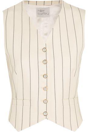 HILLIER BARTLEY Pinstriped wool-twill and silk-taffeta vest