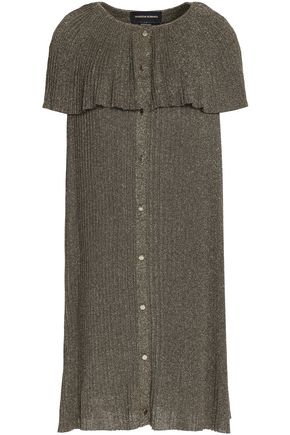 VANESSA SEWARD Pleated metallic ribbed-knit dress