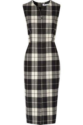 MAX MARA Checked wool-blend dress