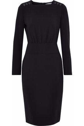 MAX MARA Button-detailed wool-blend crepe dress