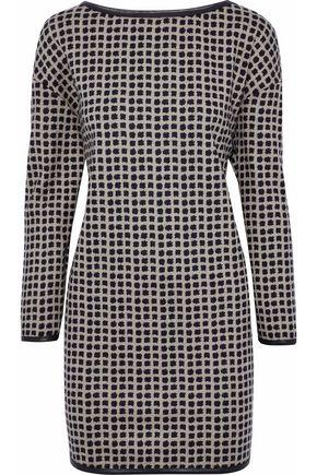 MAX MARA Leather-trimmed wool-jacquard mini dress