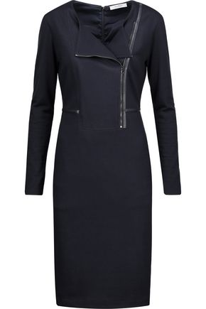 MAX MARA Asymmetric leather-trimmed paneled wool-ponte dress