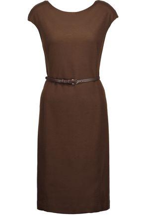 MAX MARA Belted wool-jersey dress