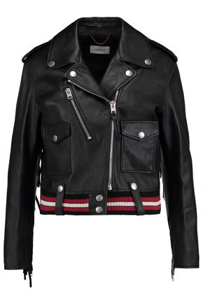 COACH Fringed appliquéd leather biker jacket