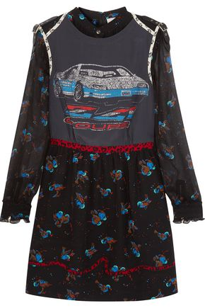 COACH Patchwork printed silk and chiffon mini dress
