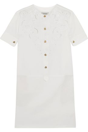 COACH Broderie anglaise cotton and linen-blend mini dress