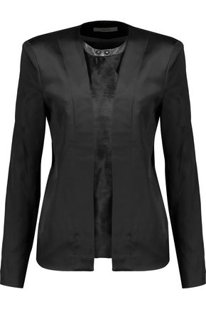 J BRAND Greville calf hair-paneled leather-trimmed Duchesse satin jacket