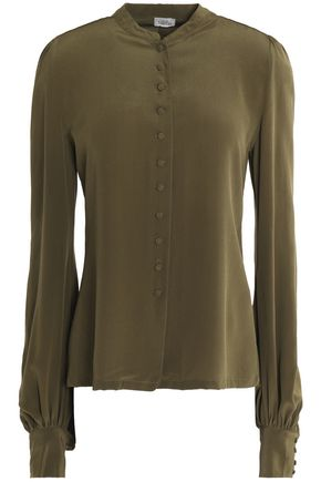 TALITHA Washed-silk top