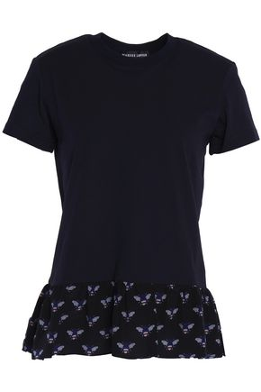 MARKUS LUPFER Printed crepe de chine-trimmed cotton-jersey peplum T-shirt