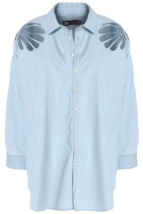 3x1 Embroidered cotton-chambray shirt