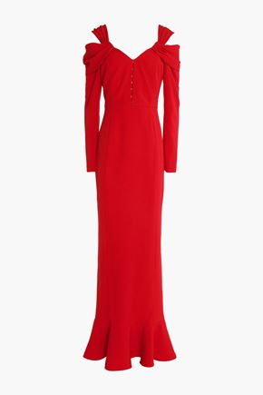 MIKAEL AGHAL Cold-shoulder fluted crepe gown