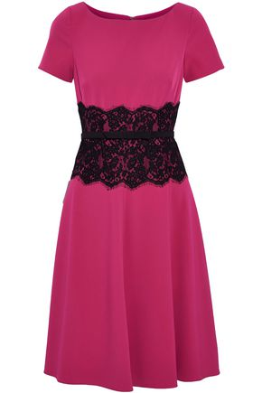 MIKAEL AGHAL Lace-appliquéd cady dress