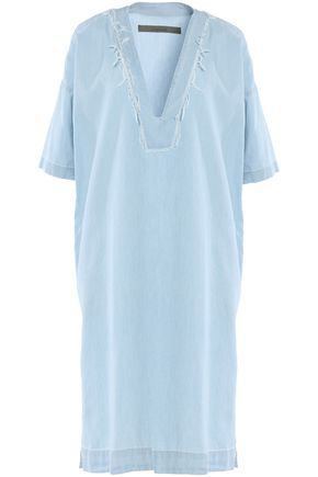 ENZA COSTA Frayed cotton-chambray mini dress