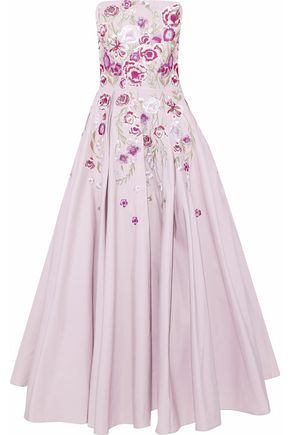 MARCHESA NOTTE Strapless embroidered cotton and silk-blend faille maxi dress