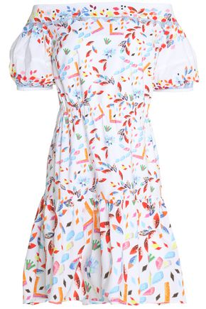 PETER PILOTTO Off-the-shoulder printed cotton-poplin mini dress