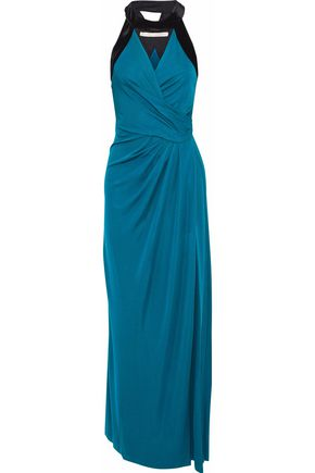 HALSTON HERITAGE Wrap-effect velvet-trimmed cady gown