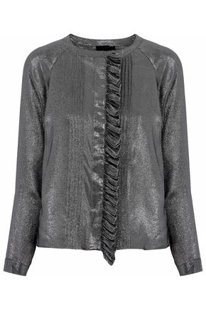 BELSTAFF Pintucked ruffled silk-blend twill-lamé blouse