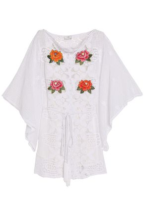 MIGUELINA Embroidered cotton giupure lace coverup