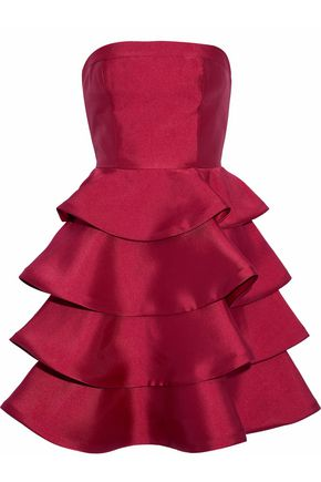 MIKAEL AGHAL Tiered duchesse-satin dress
