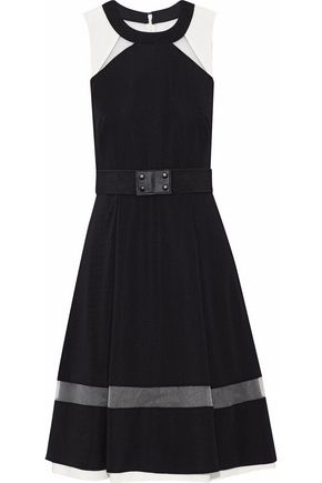 MIKAEL AGHAL Belted mesh-paneled cady dress