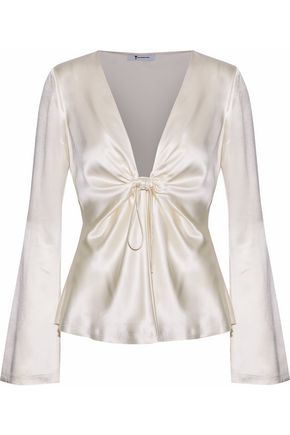 T by ALEXANDER WANG Knotted gathered silk-satin blouse