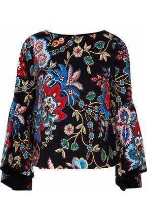 ALICE + OLIVIA Baska floral-print cotton-blend blouse