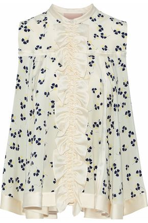 ROKSANDA Satin trimmed printed silk-crepe top