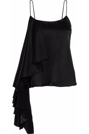 ALICE + OLIVIA Lelah asymmetric draped satin camisole