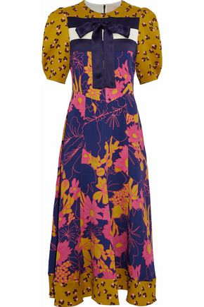 ROKSANDA Bow-detailed printed paneled silk cloqué and crepe midi dress