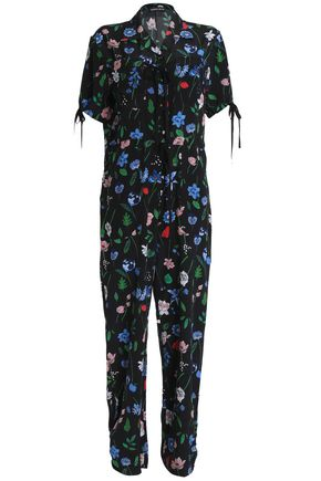 MARKUS LUPFER Bow-detailed floral-print silk crepe de chine jumpsuit