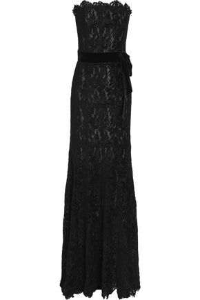 LANVIN Strapless lace gown