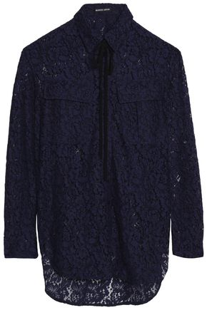 MARKUS LUPFER Bow-detailed cotton-blend lace shirt