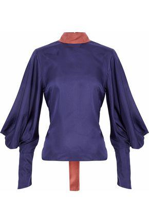 ROKSANDA Cutout gathered silk-satin blouse