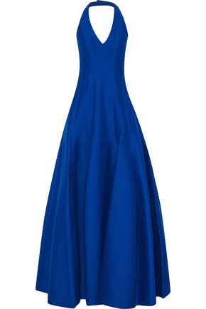 HALSTON HERITAGE Pleated cotton and silk-blend halterneck gown
