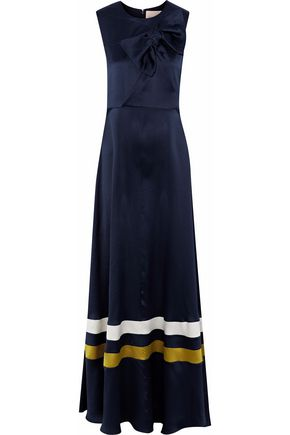 ROKSANDA Bow-embellished striped hammered silk-satin gown