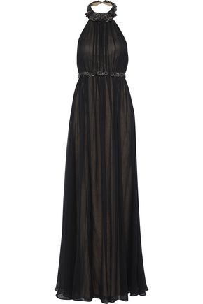 MARCHESA NOTTE Pleated embellished silk-chiffon halterneck dress