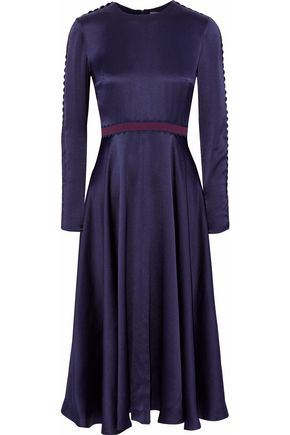 ROKSANDA Rickrack-trimmed hammered silk-blend satin midi dress