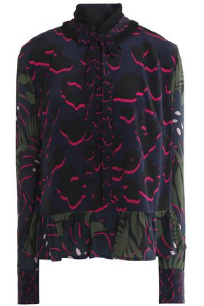 MARKUS LUPFER Pussy-bow printed silk crepe de chine peplum blouse