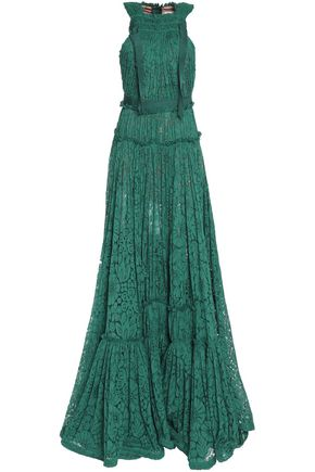 LANVIN Gathered cotton-blend lace gown